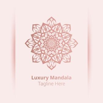 Logo di mandala ornamentale di lusso, stile arabesco.