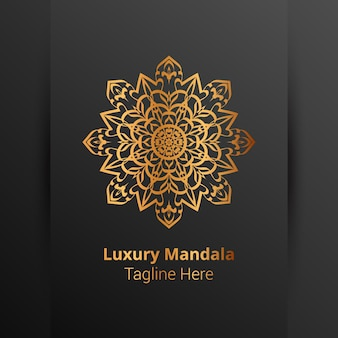 Logo di mandala ornamentale di lusso in stile arabesco