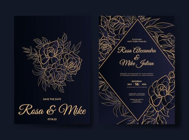 Modello dell'invito di nozze del fiore del profilo di lusso