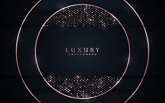 Sfondo blu navy sovrapposto di lusso con decorazioni in oro rosa