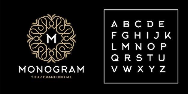Monogramma con motivo di lusso per il logo iniziale. art deco, interni, moda, ispirazione per modelli di design boutique