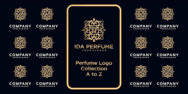 Collezione di logo di profumi di lusso con concetto iniziale.