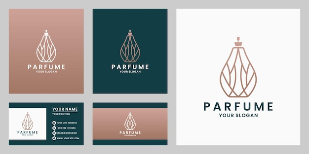 Design del logo del profumo di lusso. simbolo della bottiglia di profumo con colore dorato