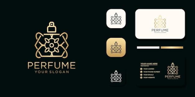 Logo del profumo di lusso con design della bottiglia e riferimento al modello di biglietto da visita