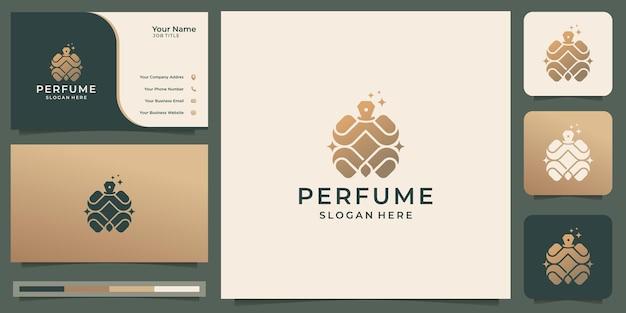 Logo di profumo di lusso con modello di biglietto da visita. ispirazione del logo della bottiglia di profumo per la tua azienda.