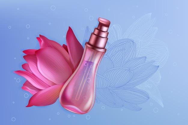 Cosmetici flacone spray di lusso rosa loto giglio prodotto profumo