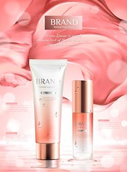 Annunci di prodotti per la cura della pelle rosa di lusso con raso ondulato nell'illustrazione 3d su sfondo bokeh
