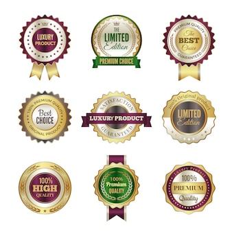 Distintivi premium di lusso. etichette di alta qualità con corona d'oro di alta qualità e modello di timbro per certificato e documenti