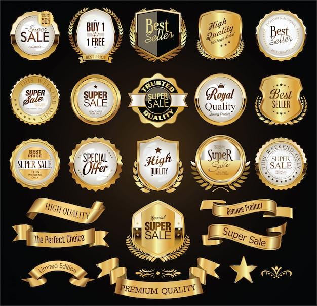 Distintivi ed etichette dorati premium di lusso