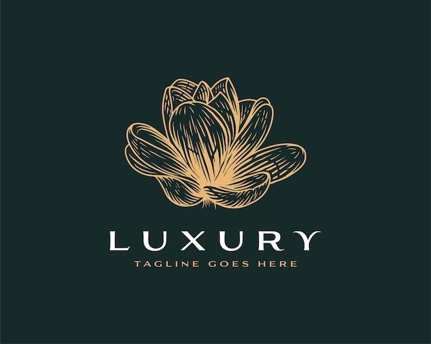 Modello di progettazione del logo del loto disegnato a mano premium di lusso