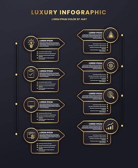 Elemento infografico di presentazione di lusso con grafica modello a tema oro e nero scuro