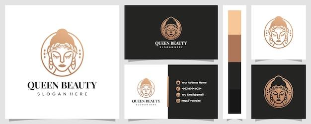 Logo di bellezza regina di lusso con modello di biglietto da visita