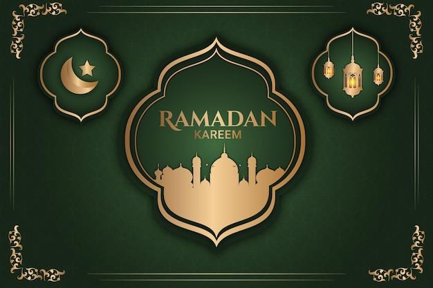 Lusso ramadan kareem moschea d'oro di colore di sfondo verde e oro