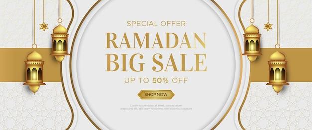 Modello di banner di vendita di lusso ramadan kareem