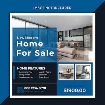 Modello di banner e post per social media di lusso immobiliare