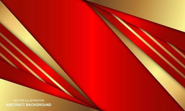 Sfondo rosso di lusso con combinazione di linee dorate