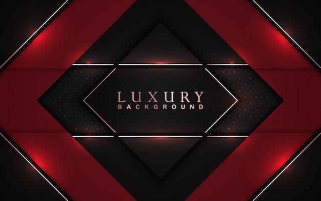 Sfondo rosso e nero di lusso con decorazioni dorate