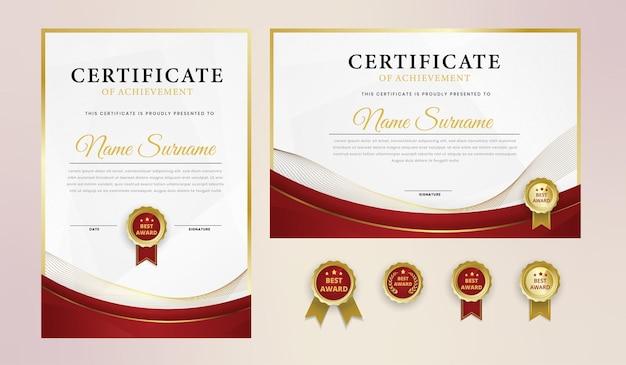 Certificato di lusso in oro rosso con badge e modello di bordo Vettore Premium