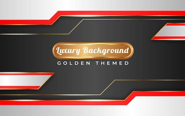 Tema dorato di sfondo sfumato rosso e bianco di lusso