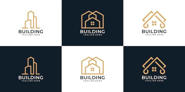 Logo di costruzione di architettura residenziale di lusso per azienda
