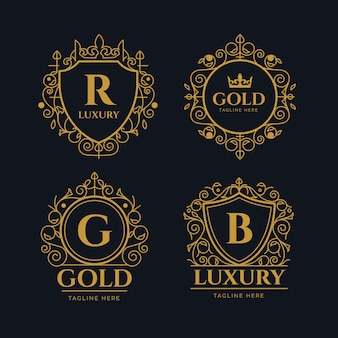 Collezione di logo retrò di lusso