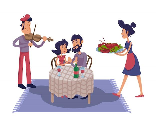 Illustrazione del fumetto di data romantica di lusso. coppia al tavolo del ristorante, cameriera e musicista di violino. modello di carattere pronto per l'uso per pubblicità, animazione, stampa. eroe dei fumetti