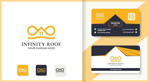 Design del logo del tetto di lusso e biglietto da visita