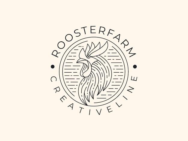 Gallo di lusso linea arte logo illustrazione