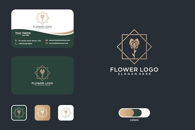Design del logo e biglietto da visita del fiore di rosa di lusso