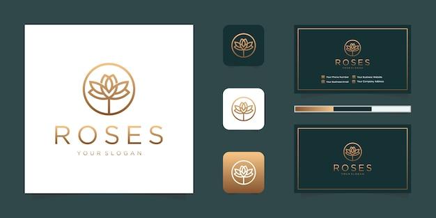 Design del logo fiore rosa di lusso con stile artistico al tratto e biglietto da visita di ispirazione