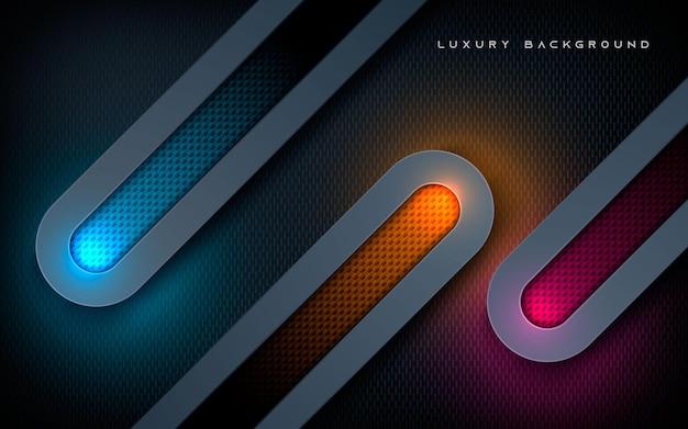 Strati di dimensioni arrotondate di lusso sullo sfondo di una luce scintillante colorata