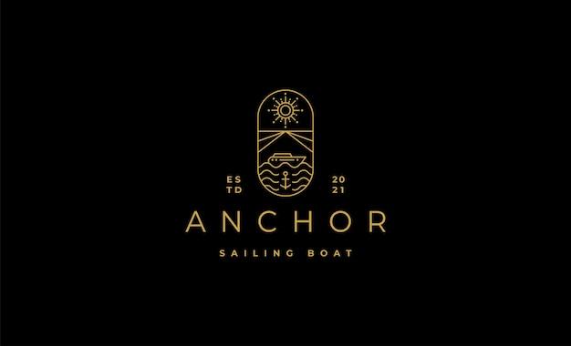 Vettori di linea di logo di crociere a vela di lusso