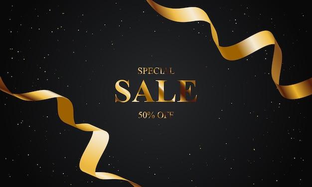 Sfondo di vendita di lusso con nastro d'oro e oro glitterato. illustrazione vettoriale.