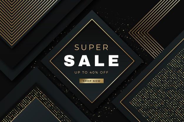 Sfondo di vendita di lusso con elementi dorati