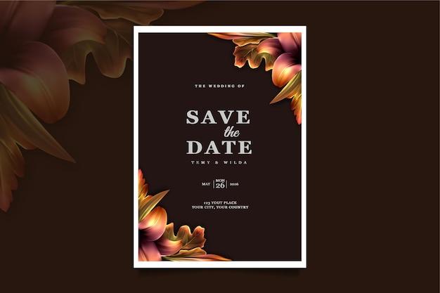 Set di biglietti d'invito di nozze di lusso salva la data