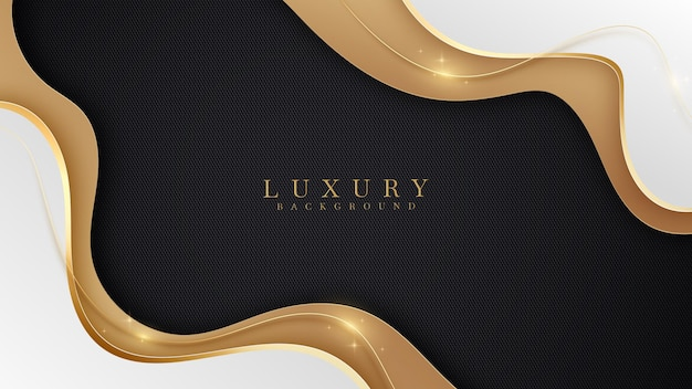 Scena di lusso marrone sovrapposto bianco su colore nero. le linee curve dorate brillano di spazio libero per incollare il testo promozionale. elegante sfondo stile carta tagliata. illustrazione vettoriale per il design.