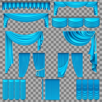 Set di lusso di tende di seta di velluto dorato.
