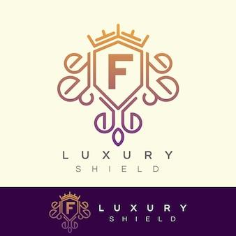 Scudo di lusso iniziale lettera f logo design