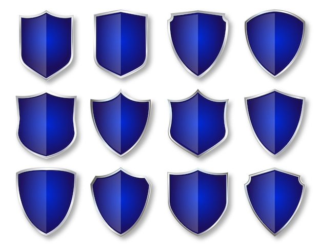 Scudo, distintivi ed etichette di lusso in argento e blu