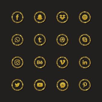 Collezione di logo di social media di lusso