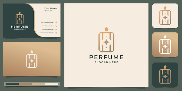 Logo del profumo della bottiglia quadrata di lusso e design del biglietto da visita. logo per salone di moda, elegante e femminile.