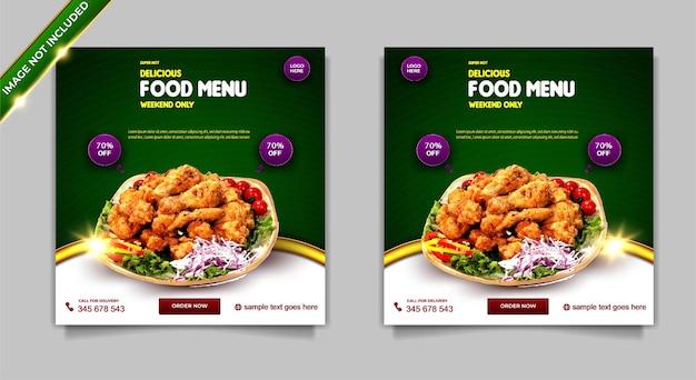 Menu di cibo super caldo di lusso set di modelli di post banner per social media super delizioso