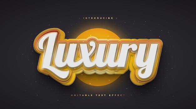 Stile di testo di lusso in bianco e oro con effetto 3d e luminoso. effetto di testo modificabile