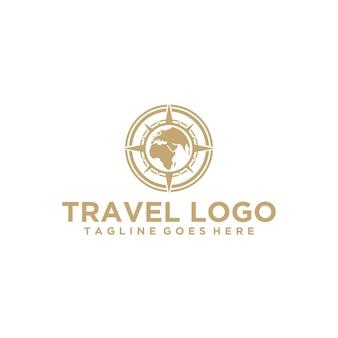 Logo di viaggio di lusso con globo e bussola