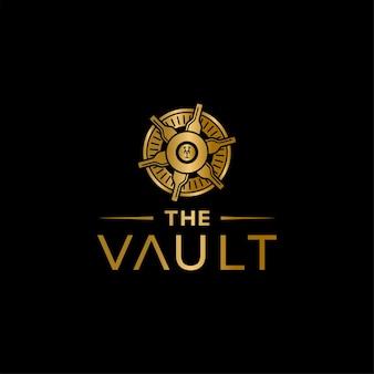 Design di lusso del logo della banca del vino di vault