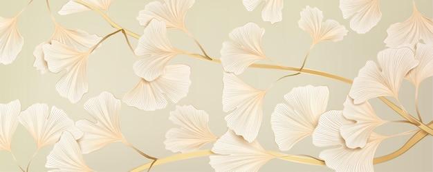 Banner vettoriale di lusso con foglie di ginkgo per social media design, tessuti e imballaggi.