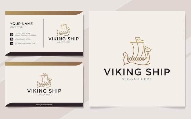Modello di logo e biglietto da visita di lusso della nave vichinga