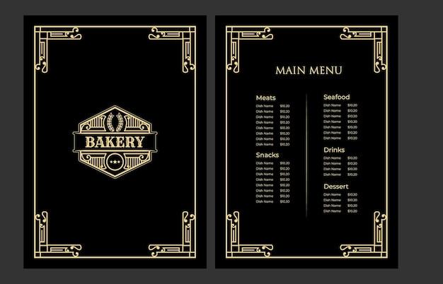 Copertina del modello di carta del menu del cibo del negozio di panetteria vintage di lusso con il logo per la caffetteria dell'hotel bar caffetteria