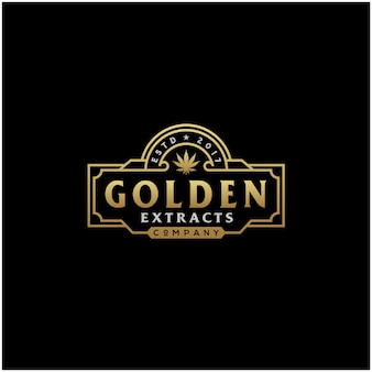 Logo cannabis vintage dorato di lusso