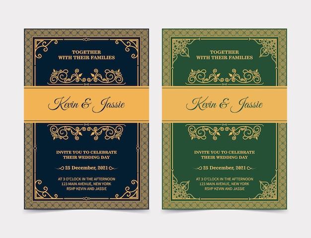 Modello di carta di invito dorato vintage di lusso